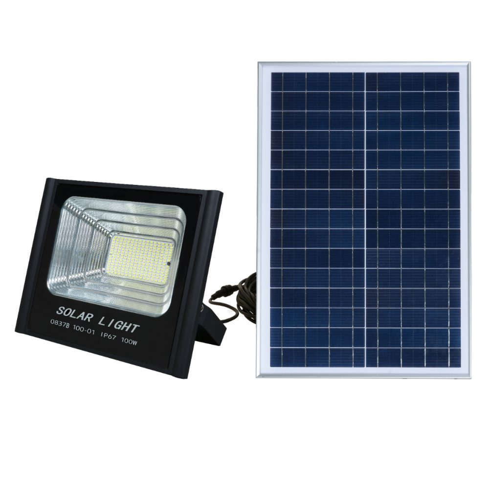 Solar LED Flood Light PLS-FL100W-6K/B