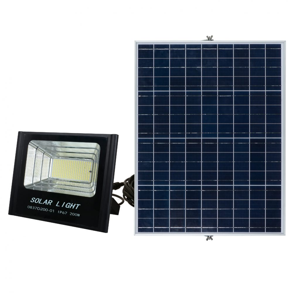 Solar LED Flood Light PLS-FL200W-6K/B